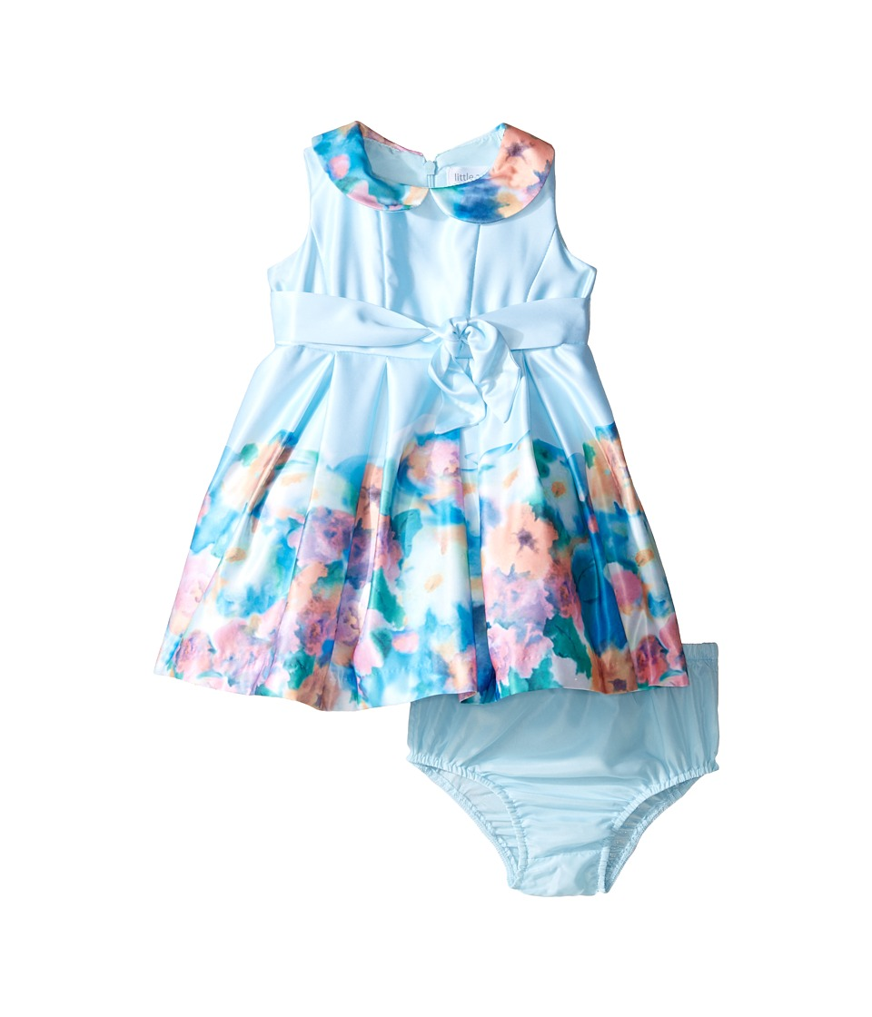Us Angels - Matte Satin Sleeveless Peter Pan w/ Photo Reel Border Dress (Infant) (Aqua) Girl's Dress