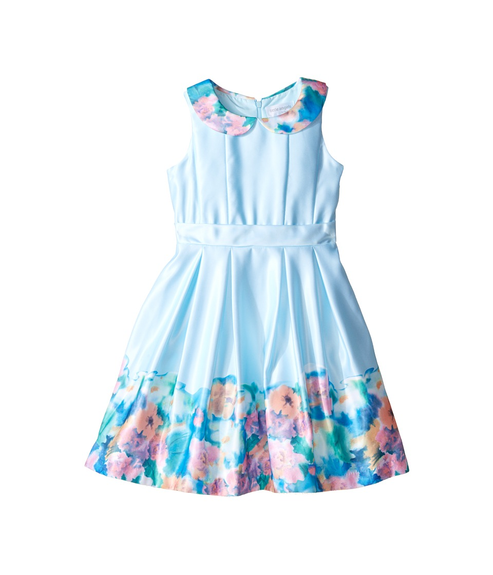 Us Angels - Matte Satin Sleeveless Peter Pan w/ Photo Reel Border Dress (Toddler/Little Kids) (Aqua) Girl's Dress