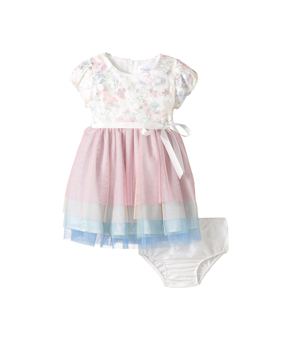Us Angels - Applique w/ Print Mesh Cap Sleeve w/ Tulle Skirt (Infant) (Ivory) Girl's Dress