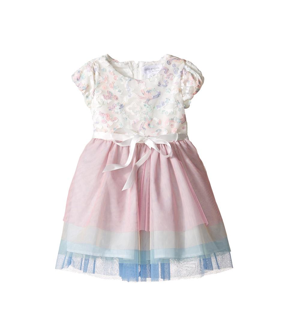 Us Angels - Applique w/ Print Mesh Cap Sleeve w/ Tulle Skirt (Toddler/Little Kids) (Ivory) Girl's Dress