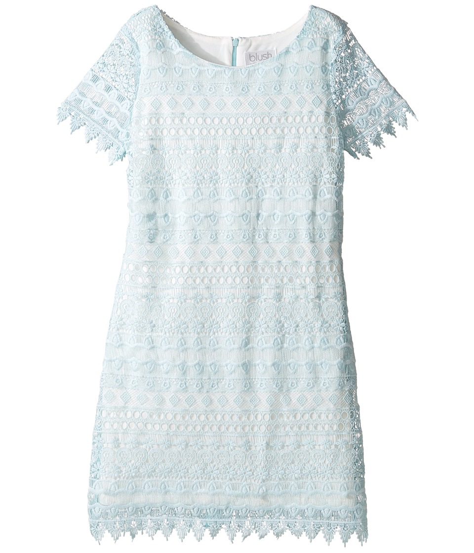 Us Angels - Sleeveless Sheath w/ Lace Overlay Dress (Big Kids) (Seafoam) Girl's Dress
