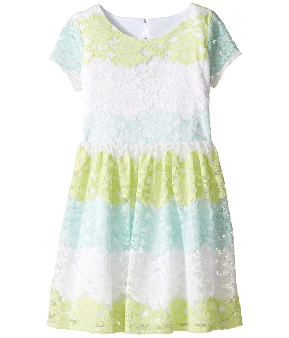 Us Angels - Stripe Lace Dress w/ Cut Out Back (Big Kids) (Mint) Girl's Dress