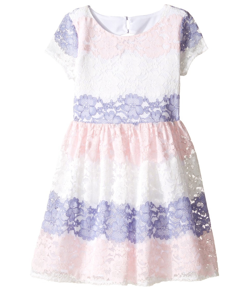 Us Angels - Stripe Lace Dress w/ Cut Out Back (Big Kids) (Pink) Girl's Dress