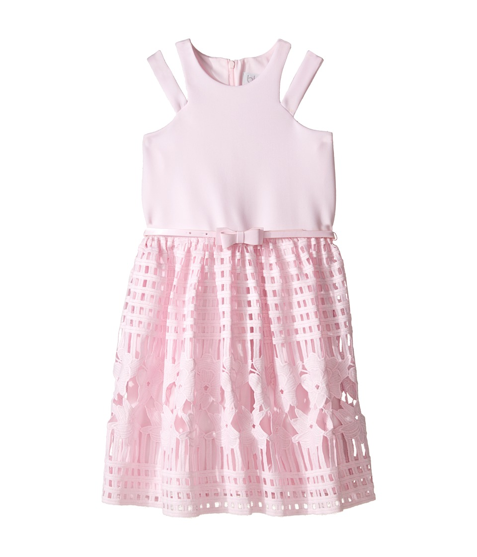 Us Angels - Scuba Lace Sleeveless Cut Away w/ Full Skirt (Big Kids) (Pink) Girl's Dress