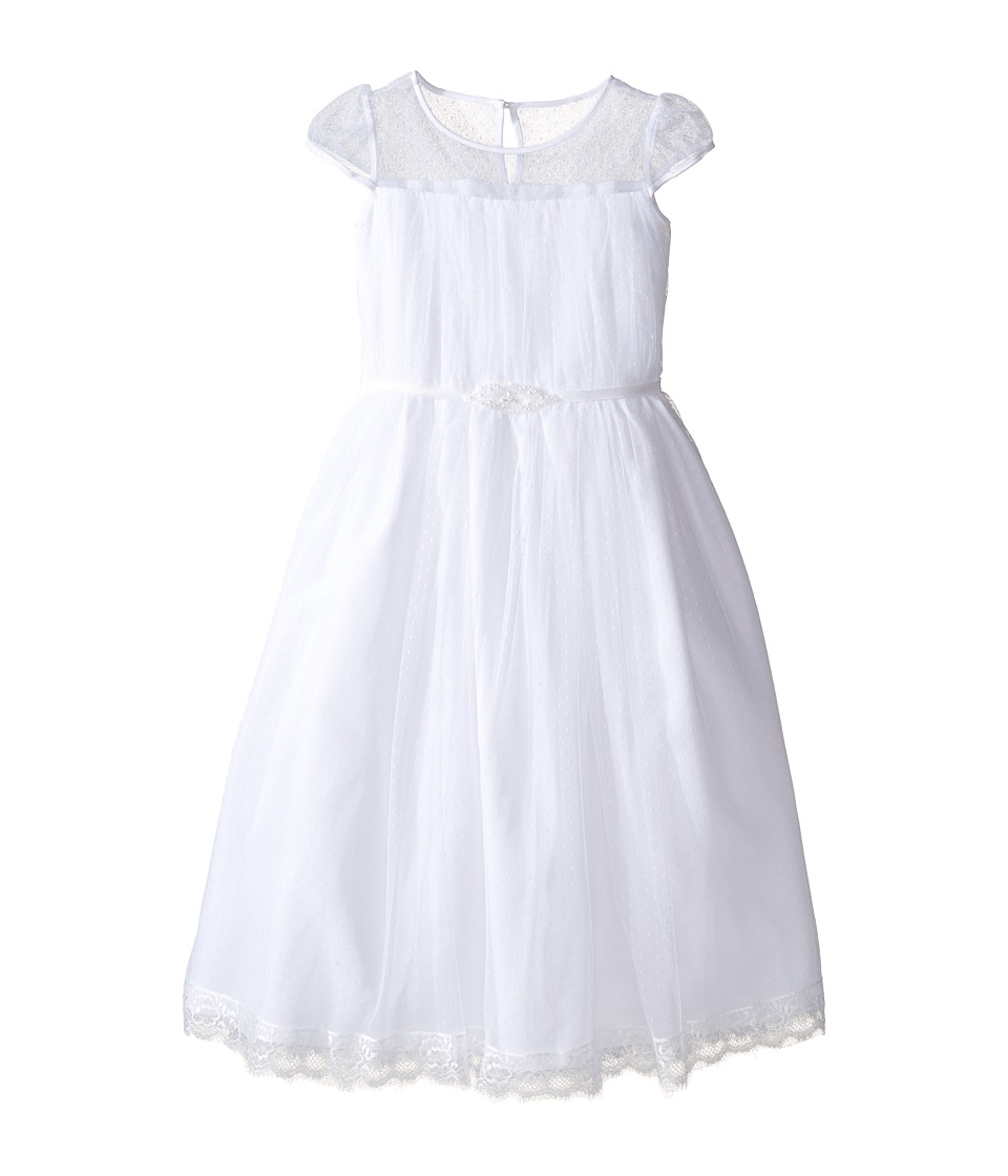 Us Angels - Satin Embroidered Cap Sleeve Illusion w/ Full Skirt (Little Kids/Big Kids) (White) Girl's Dress