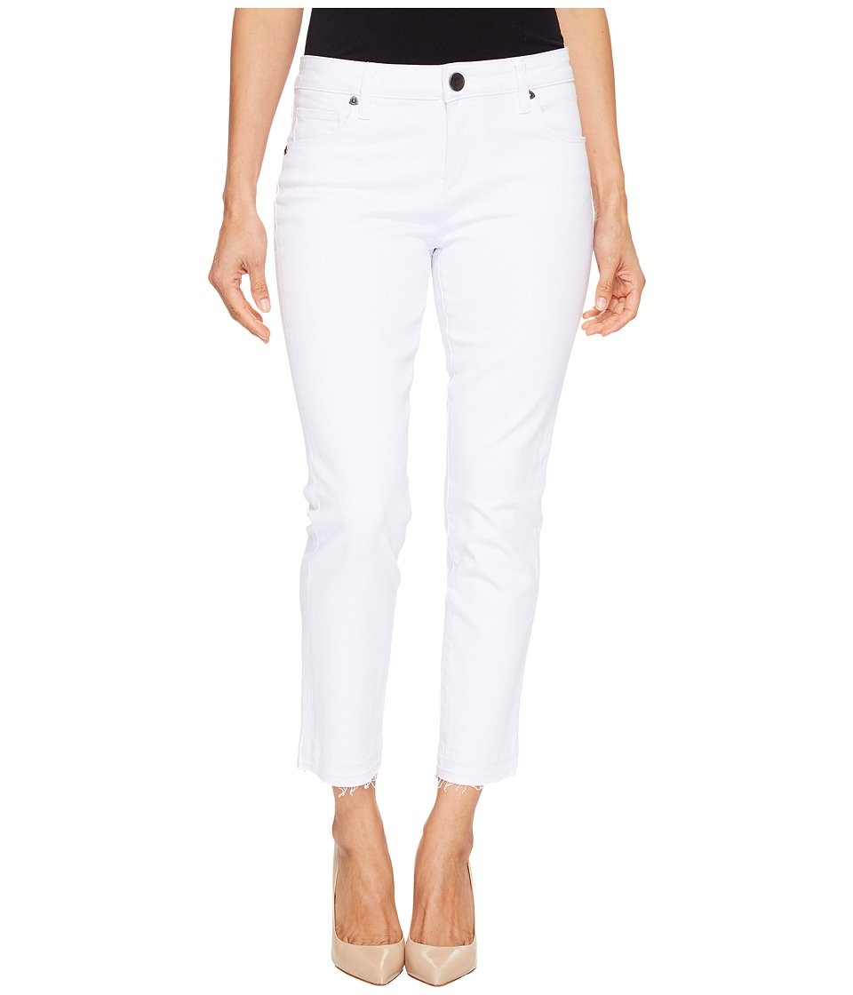 KUT from the Kloth Petite Reese Ankle Straight Leg Jeans in Optic White (Optic White) Women