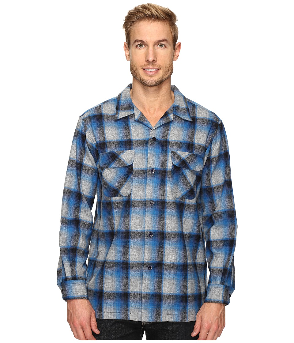 Pendleton - L/S Board Shirt (Blue/Grey Mix Ombre) Men's Long Sleeve Button Up