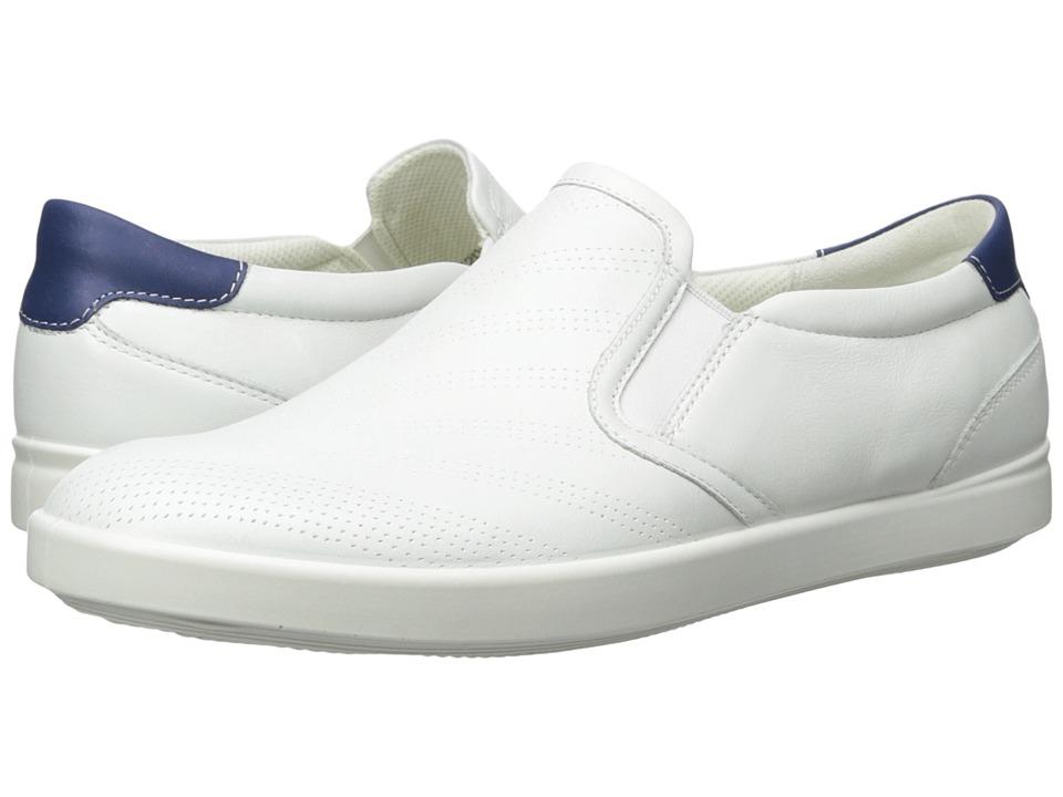 ECCO Aimee Sport Slip-On (White/Mazarine Blue Cow Leather) Women