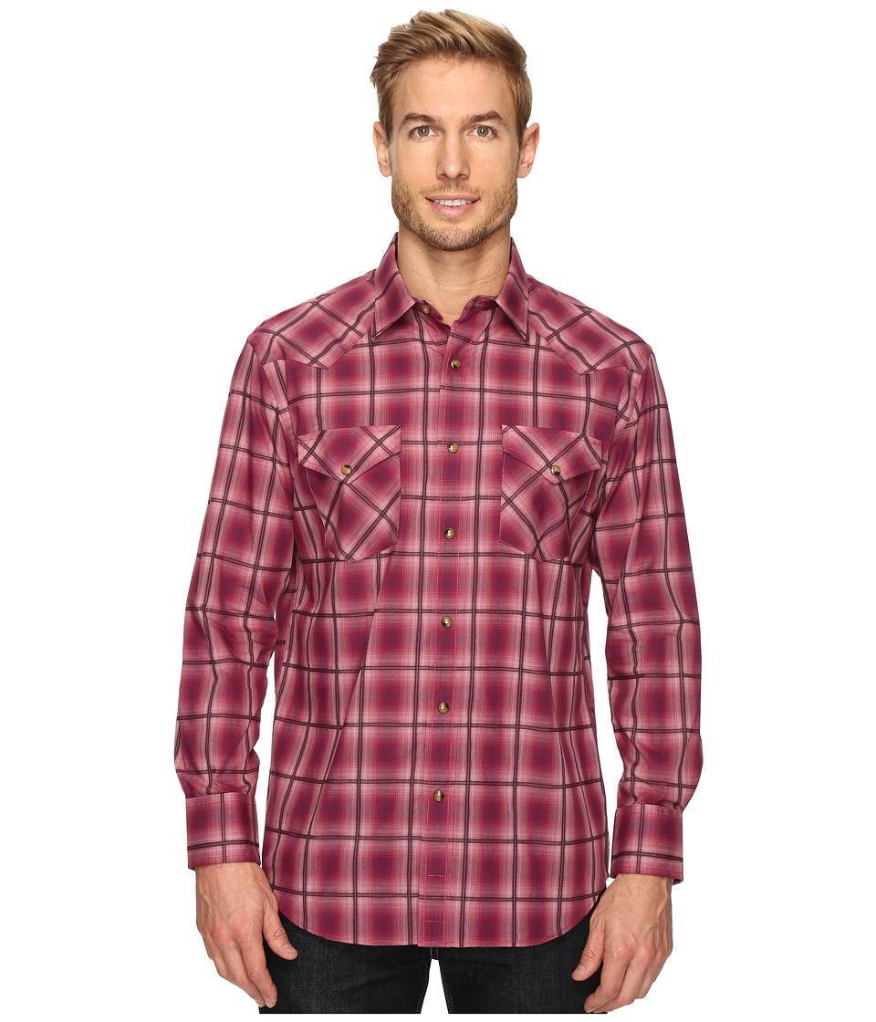 Pendleton - Long Sleeve Frontier (Maroon/Black Ombre) Men's Clothing