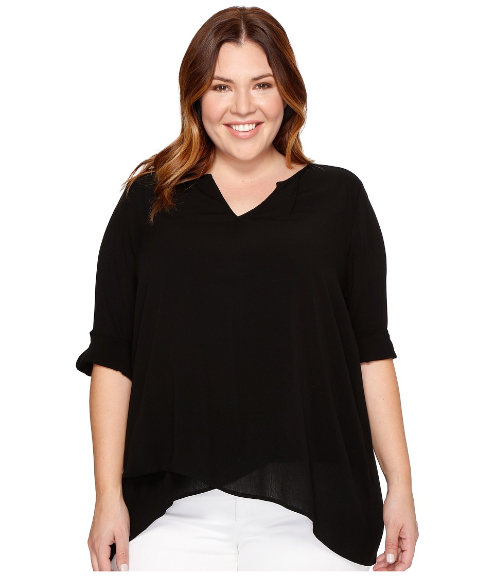Karen Kane Plus - Plus Size Asymmetric Hem Wrap Top (Black) Women's Blouse