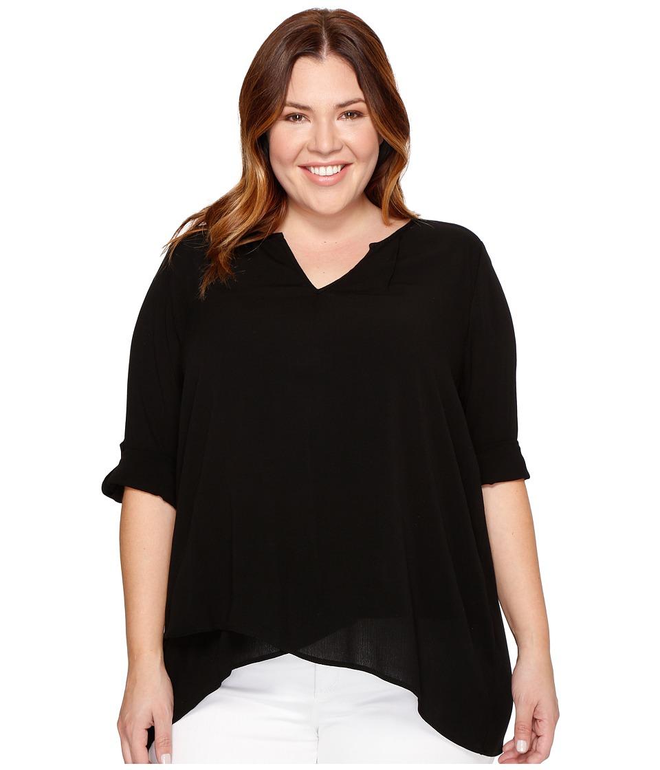 Karen Kane Plus - Plus Size Asymmetric Hem Wrap Top (Black) Women's Blouse