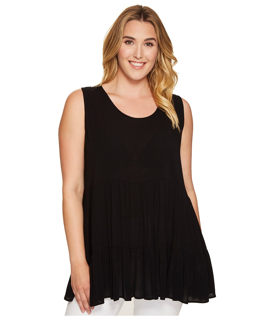 Karen Kane Plus - Plus Size Sleeveless Double Ruffle Top (Black) Women's Sleeveless