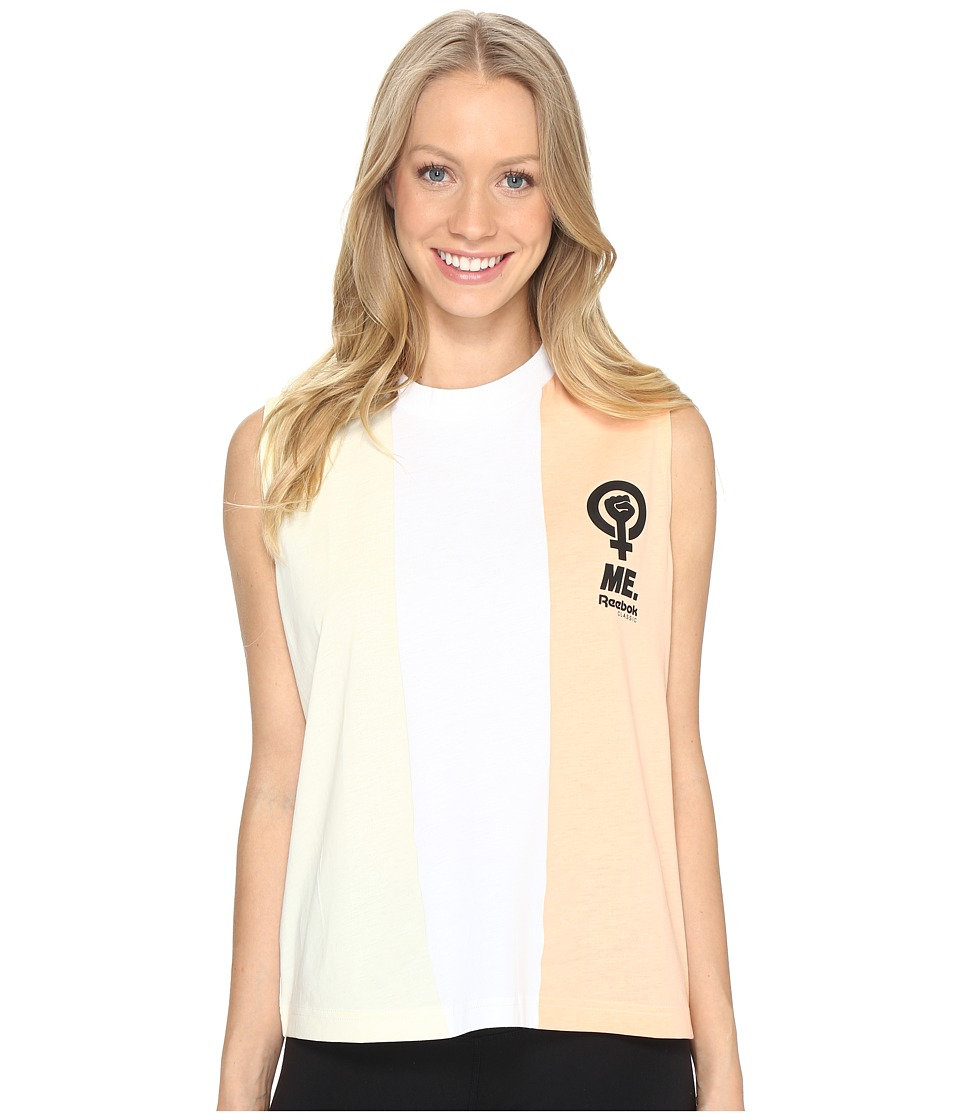 Reebok - Stripe Tank Top (White) Women's Sleeveless