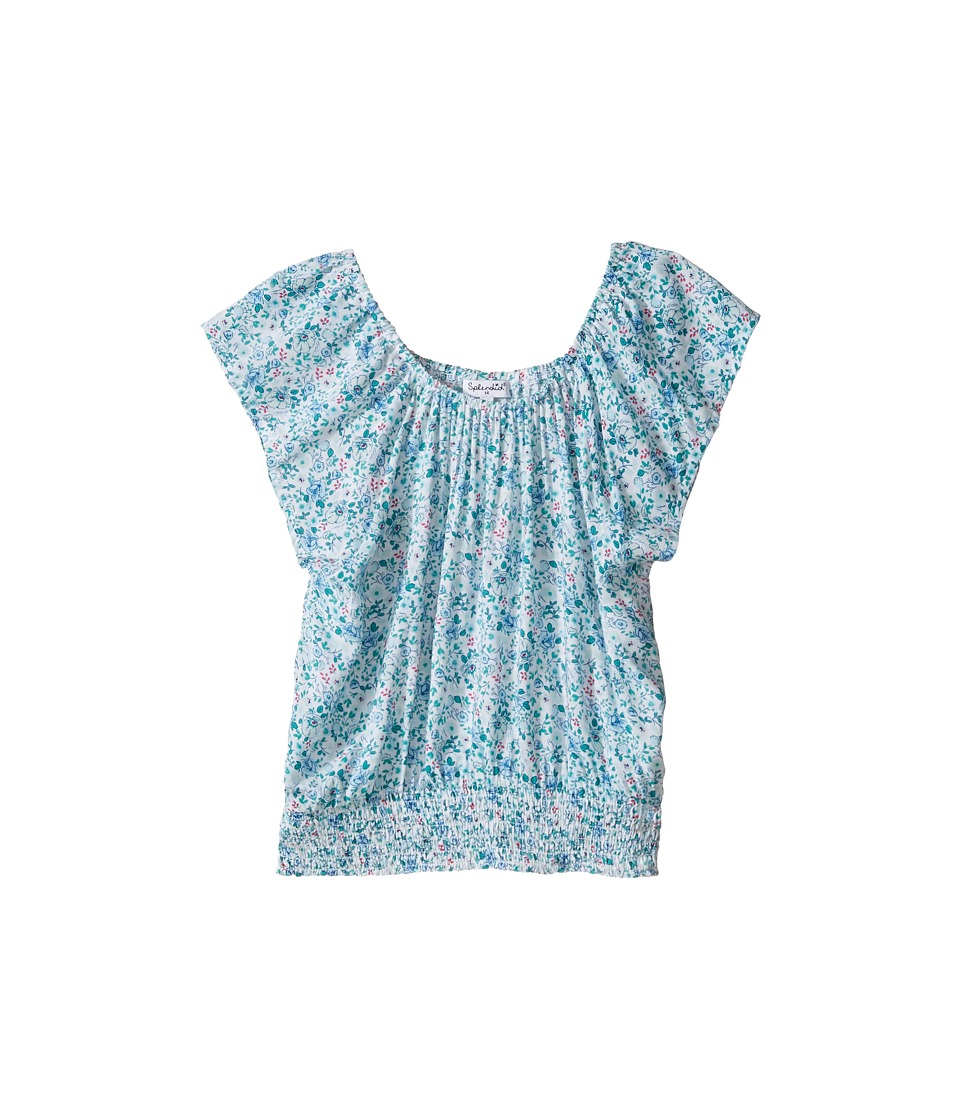 Splendid Littles - Off the Shoulder Printed Top (Big Kids) (Aqua) Girl's Clothing
