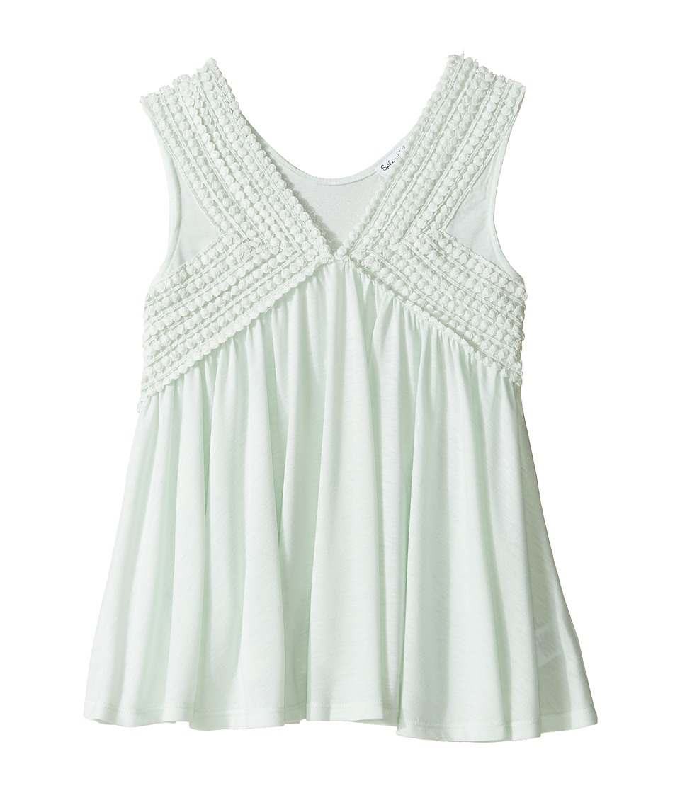 Splendid Littles - V-Neck Tank Top with Lace Trim (Big Kids) (Light Green) Girl's Sleeveless