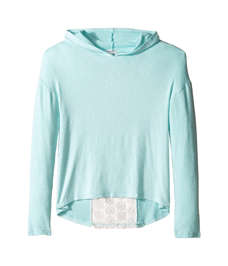 Splendid Littles - Long Sleeve Hoodie with Lace Back (Big Kids) (Aqua) Girl's Clothing