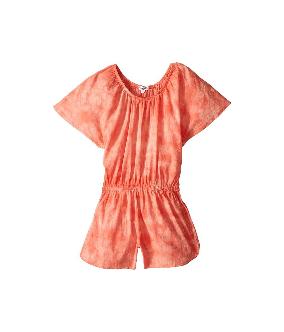 Splendid Littles - Tie-Dye Lurex Romper (Big Kids) (Orange) Girl's Jumpsuit & Rompers One Piece