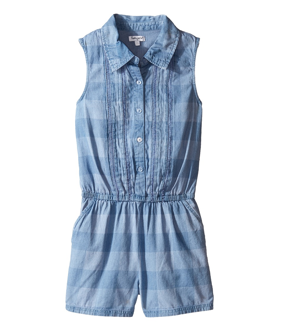 Splendid Littles - Gingham Check Romper (Big Kids) (Chambray) Girl's Jumpsuit & Rompers One Piece