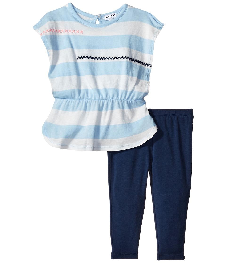 Splendid Littles - Whipstitch Embroidery Top Leggings Set (Infant) (Light Blue) Girl's Active Sets