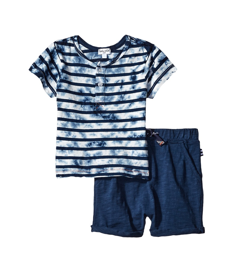 Splendid Littles - Tie-Dye Short Sleeve Shorts Set (Infant) (Navy) Boy's Active Sets