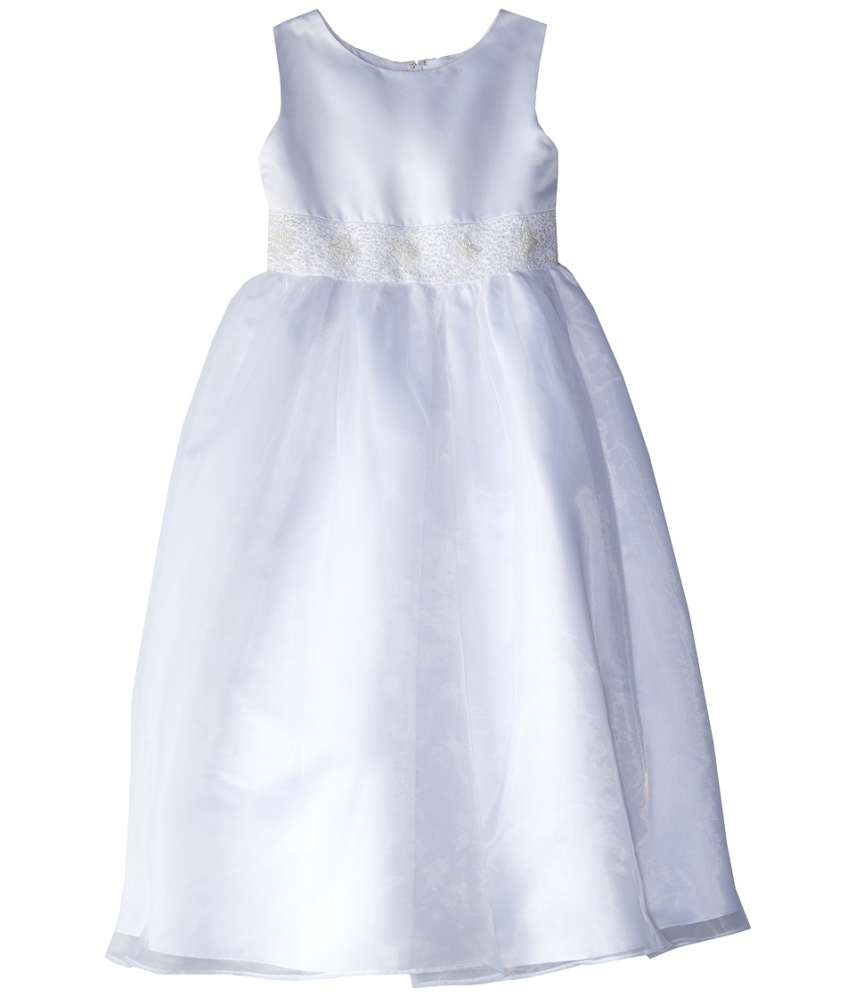 Us Angels - Satin Organza Sleeveless Beaded Cumberband Dress (Big Kids) (White) Girl's Dress