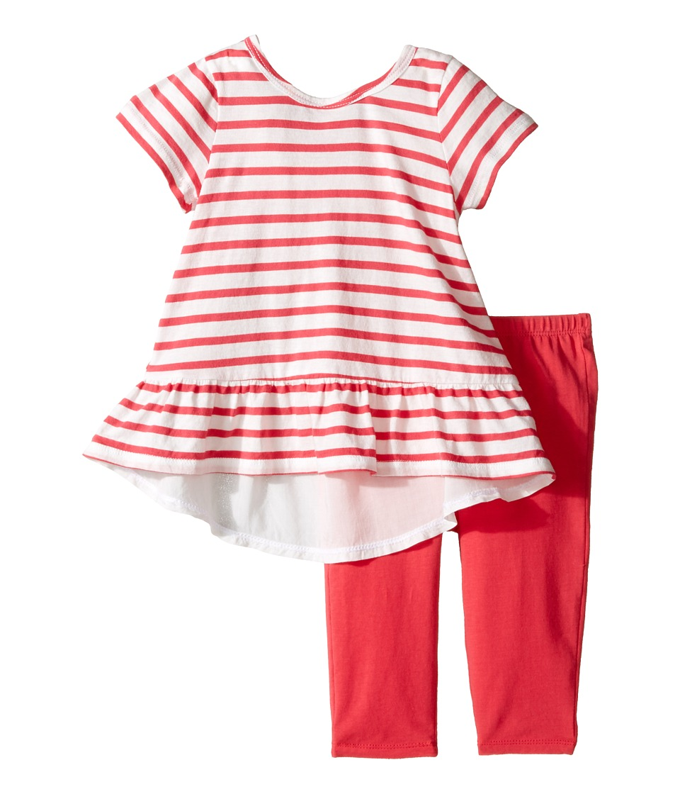 Splendid Littles - Striped Top with Solid Leggings (Infant) (Dark Coral) Girl's Active Sets