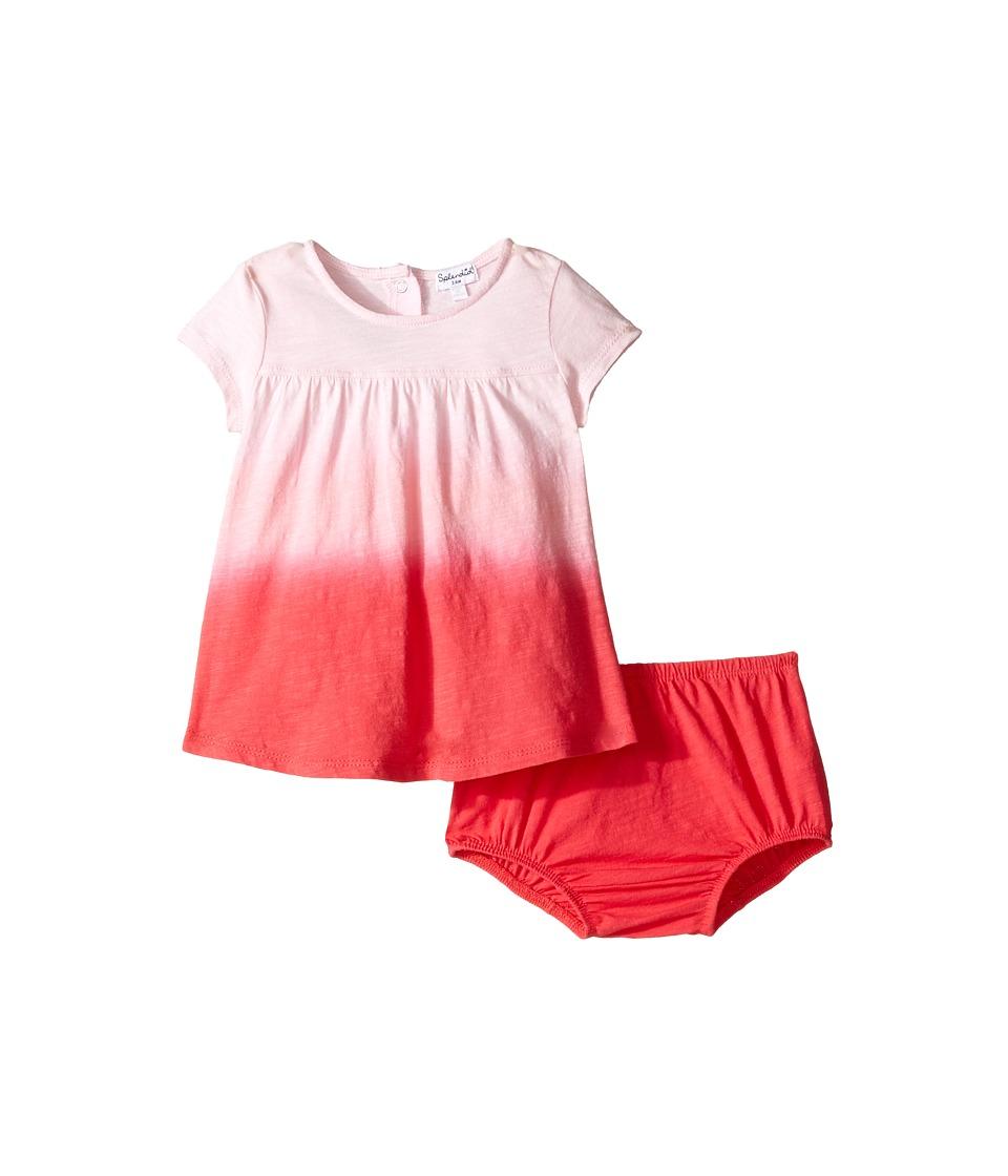Splendid Littles - Short Sleeve Dip-Dye Dress (Infant) (Dark Coral) Girl's Dress