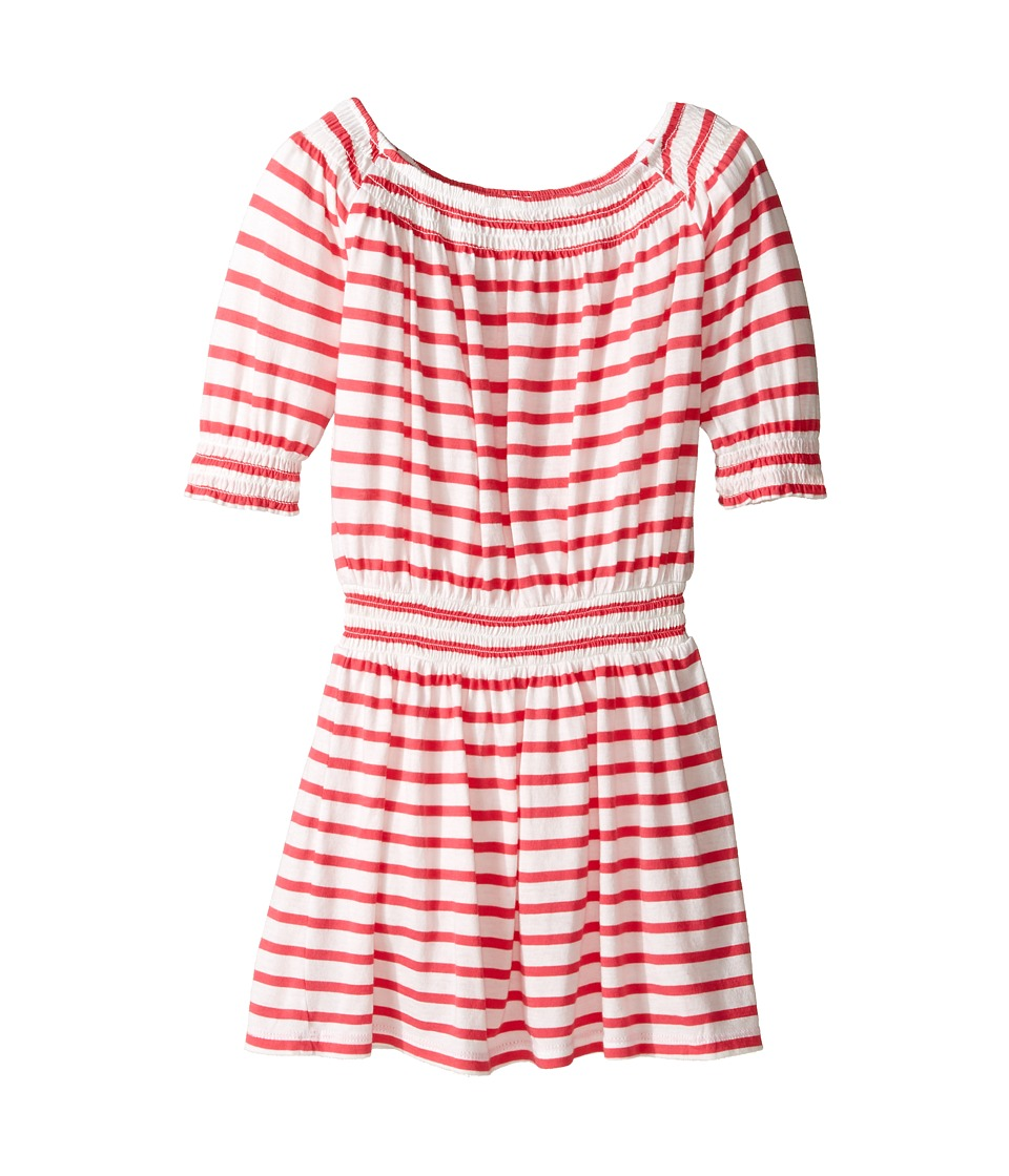 Splendid Littles - Off the Shoulder Striped Dress (Little Kids) (Dark Coral) Girl's Dress