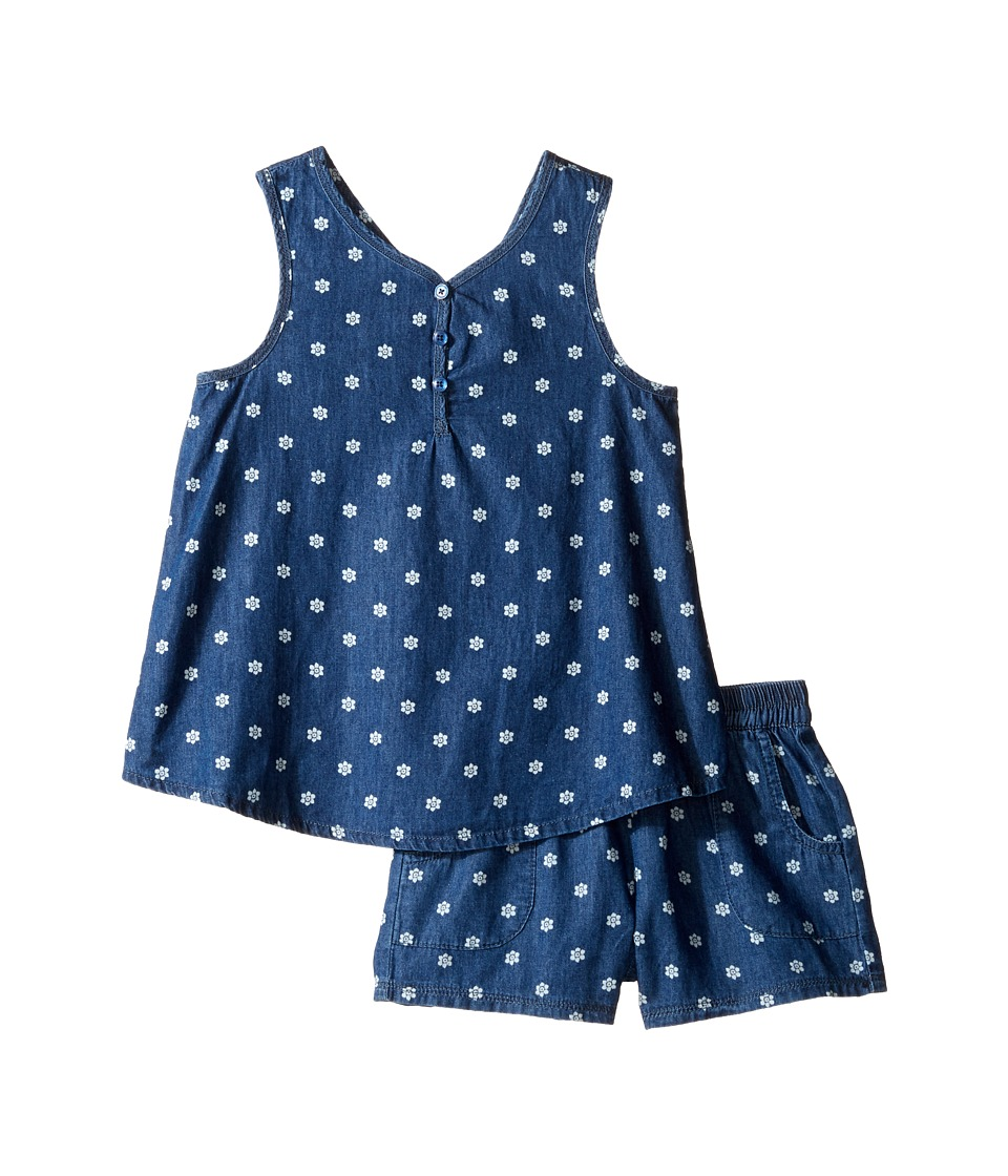 Splendid Littles - Printed Denim Cross Back Tank Set (Little Kids) (Dark Stone) Girl's Active Sets