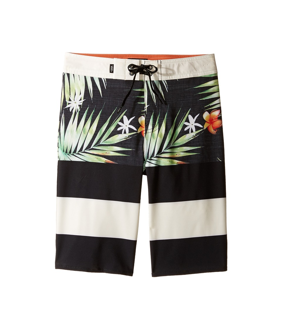 Vans Kids - Era Stretch Boardshorts (Little Kids/Big Kids) (Black Decay Palm) Boy's Swimwear