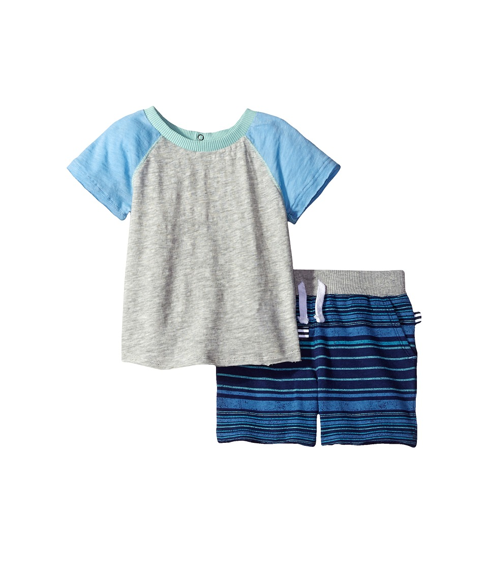 Splendid Littles - Raglan Shorts Set with Striped Shorts (Infant) (Grey Heather) Boy's Active Sets