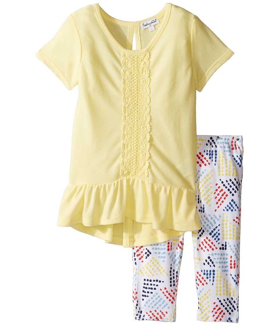 Splendid Littles - Flounce Top with Crochet Printed Leggings (Toddler) (Yellow) Girl's Active Sets