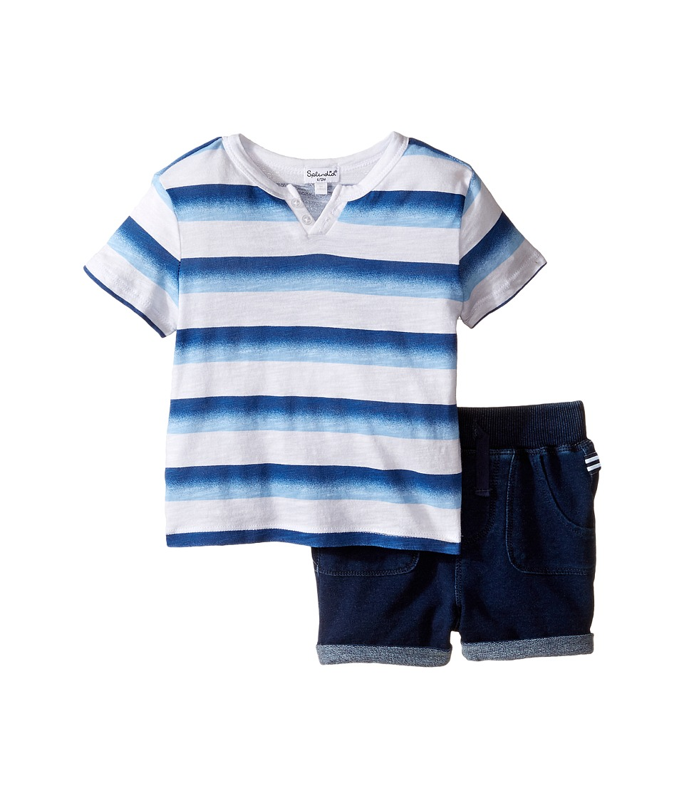 Splendid Littles - Ombre Printed Stripe Shorts Set (Infant) (Blue) Boy's Active Sets