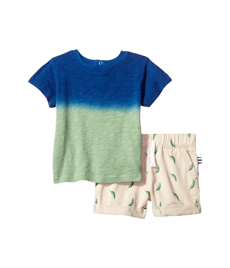 Splendid Littles - Dip-Dye Tee with Printed Chili Pepper Shorts Set (Infant) (Blue) Boy's Active Sets
