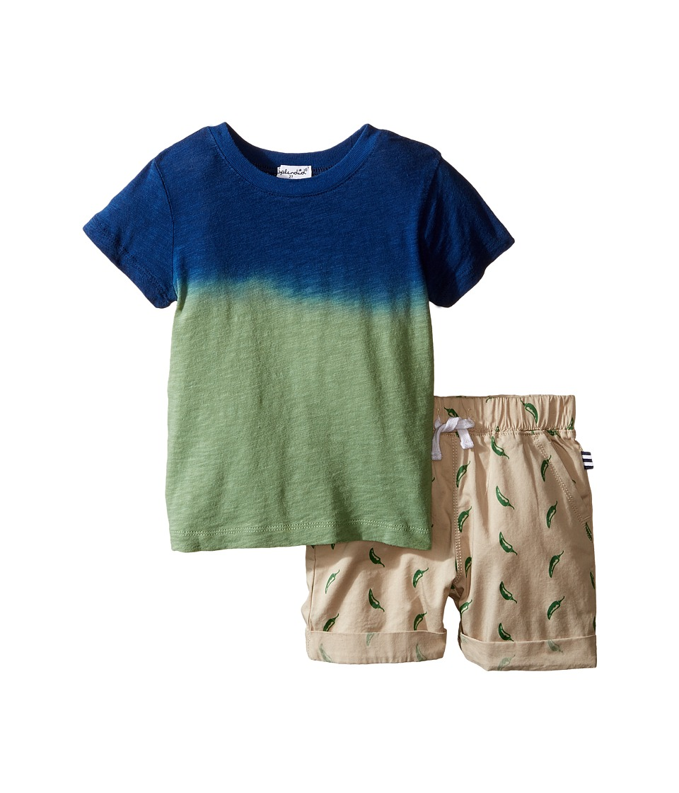 Splendid Littles - Dip-Dye Tee with Printed Chili Pepper Shorts Set (Toddler) (Blue) Boy's Active Sets