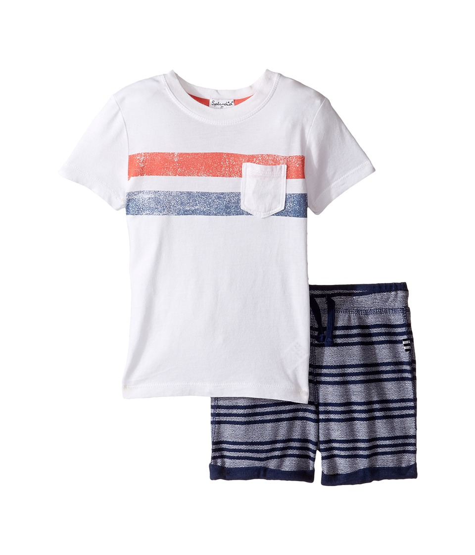 Splendid Littles - Pocket Tee Striped Shorts Set (Toddler) (White) Boy's Active Sets