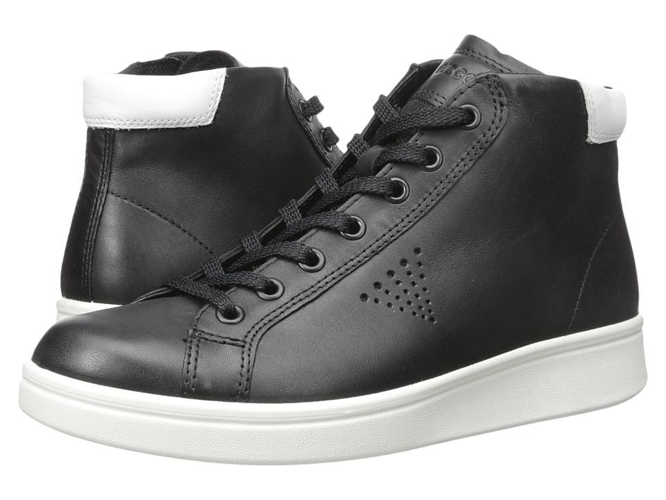 ECCO - Soft 4 High Top (Black/White) Women's Shoes