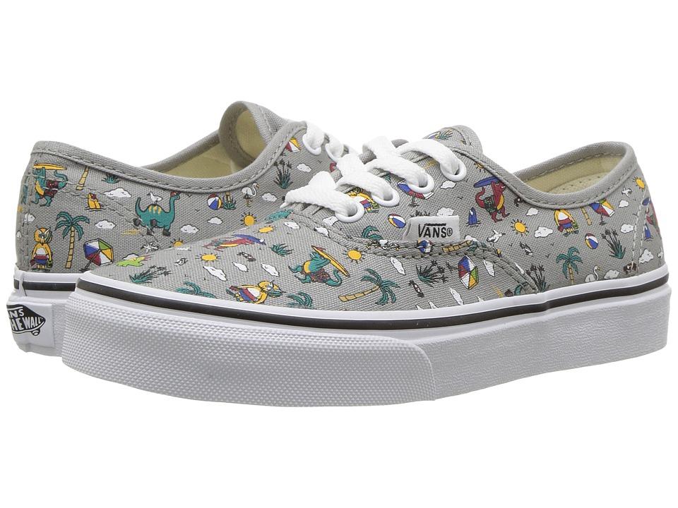 Vans Kids Authentic (Little Kid/Big Kid) ((Dino Party Train) Drizzle/True White) Boys Shoes