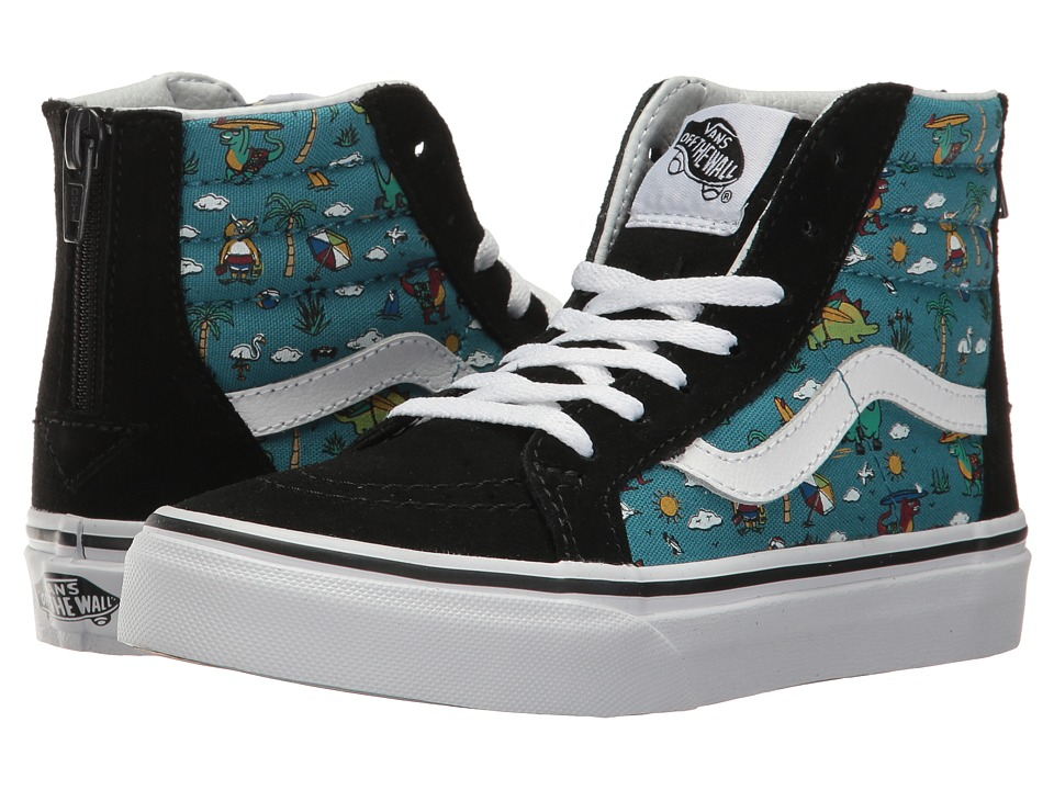 Vans Kids - Sk8-Hi Zip (Little Kid/Big Kid) ((Dino Party Train) Black/Larkspur) Boys Shoes