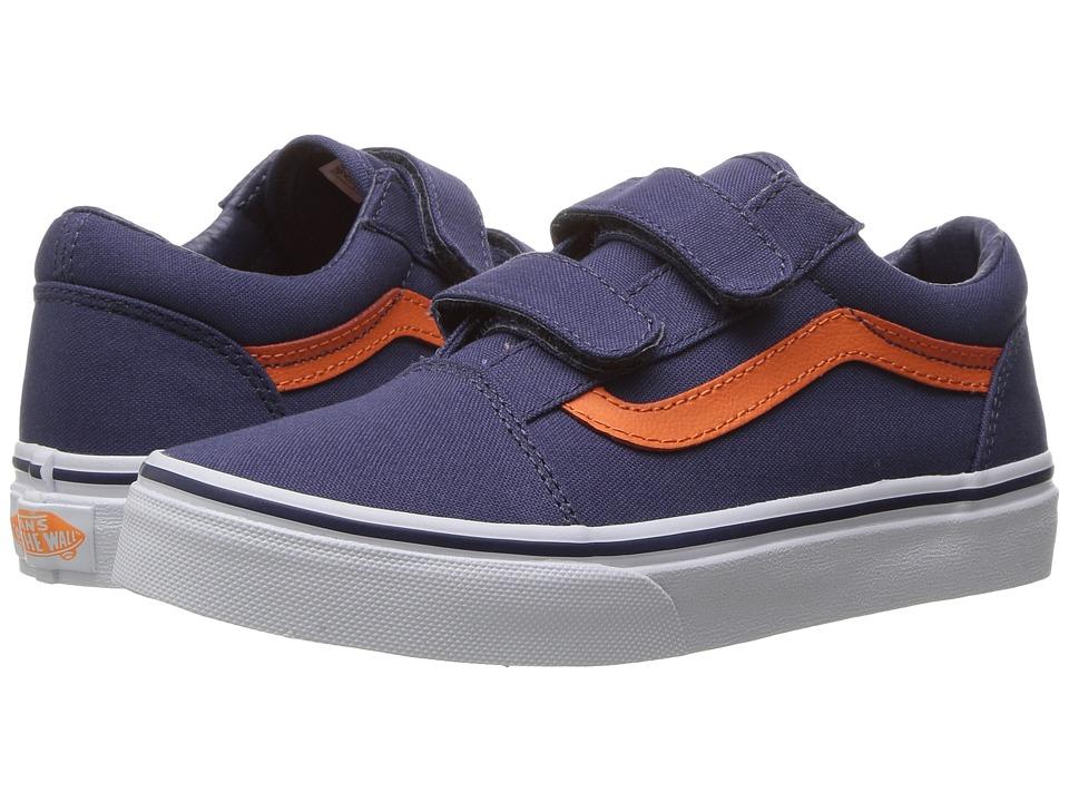 Vans Kids - Old Skool V (Little Kid/Big Kid) ((Canvas) Crown Blue/Mandarin Orange) Boys Shoes
