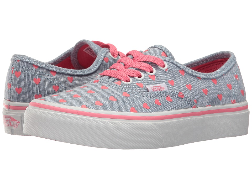 Vans Kids - Authentic (Little Kid/Big Kid) (Chambray Hearts Blue/True White) Girls Shoes