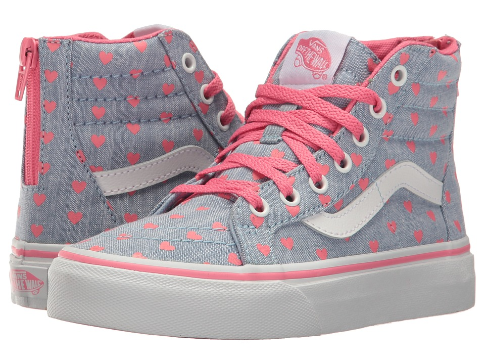Vans Kids - Sk8-Hi Zip (Little Kid/Big Kid) (Chambray Hearts Blue/True White) Girls Shoes