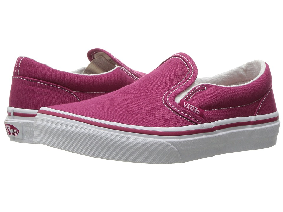 Vans Kids - Classic Slip-On (Little Kid/Big Kid) ((Canvas) Sangria/True White) Girls Shoes