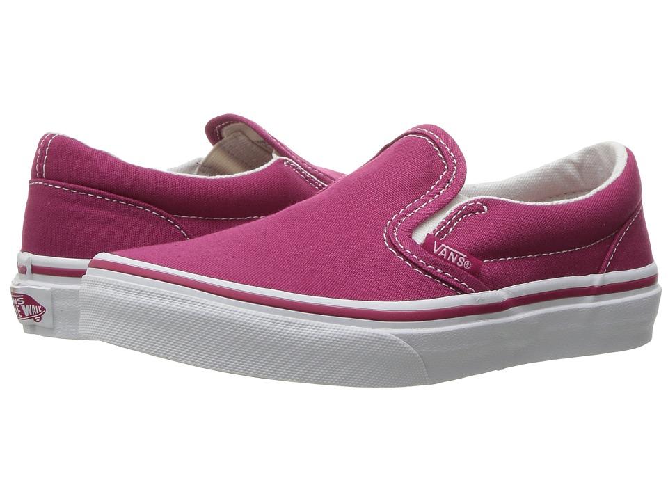 Vans Kids Classic Slip-On (Little Kid/Big Kid) ((Canvas) Sangria/True White) Girls Shoes