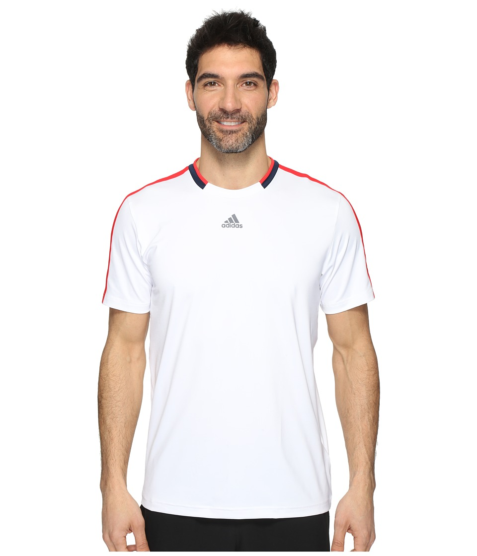 adidas - Club Tee (White/Ray Red/Navy) Men's T Shirt