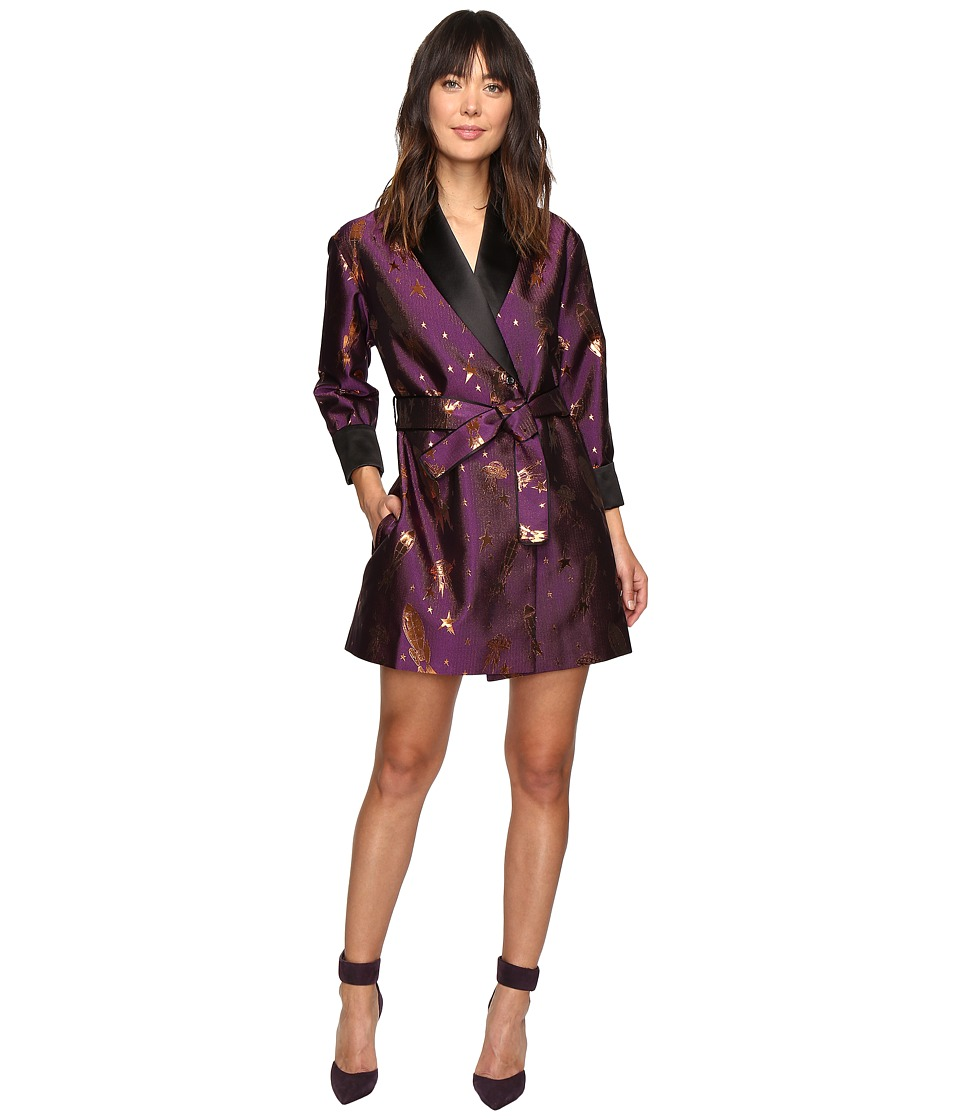 HOUSE OF HOLLAND - Spaceship Jacquard Wrap Dress (Purple) Women's Dress