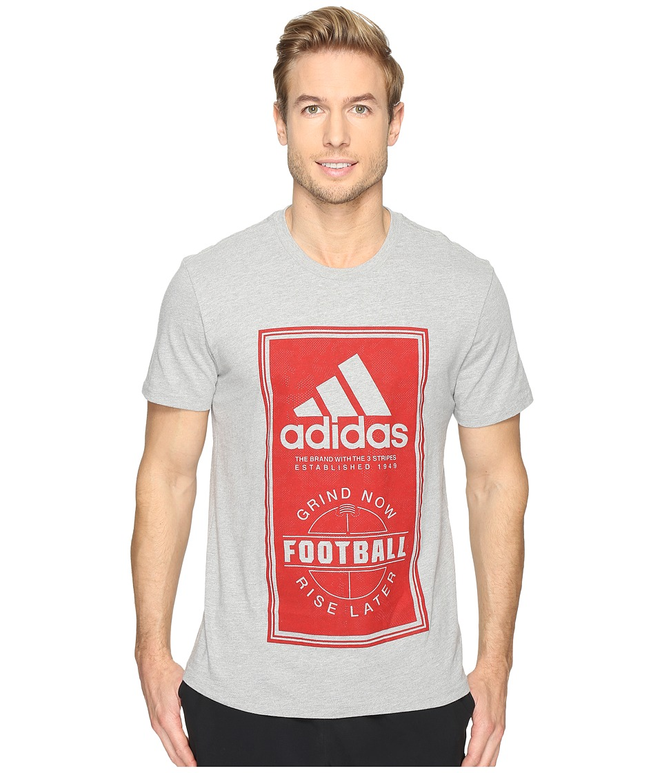 adidas - Sport ID Football Tee (Medium Grey Heather/Scarlet Red) Men's T Shirt