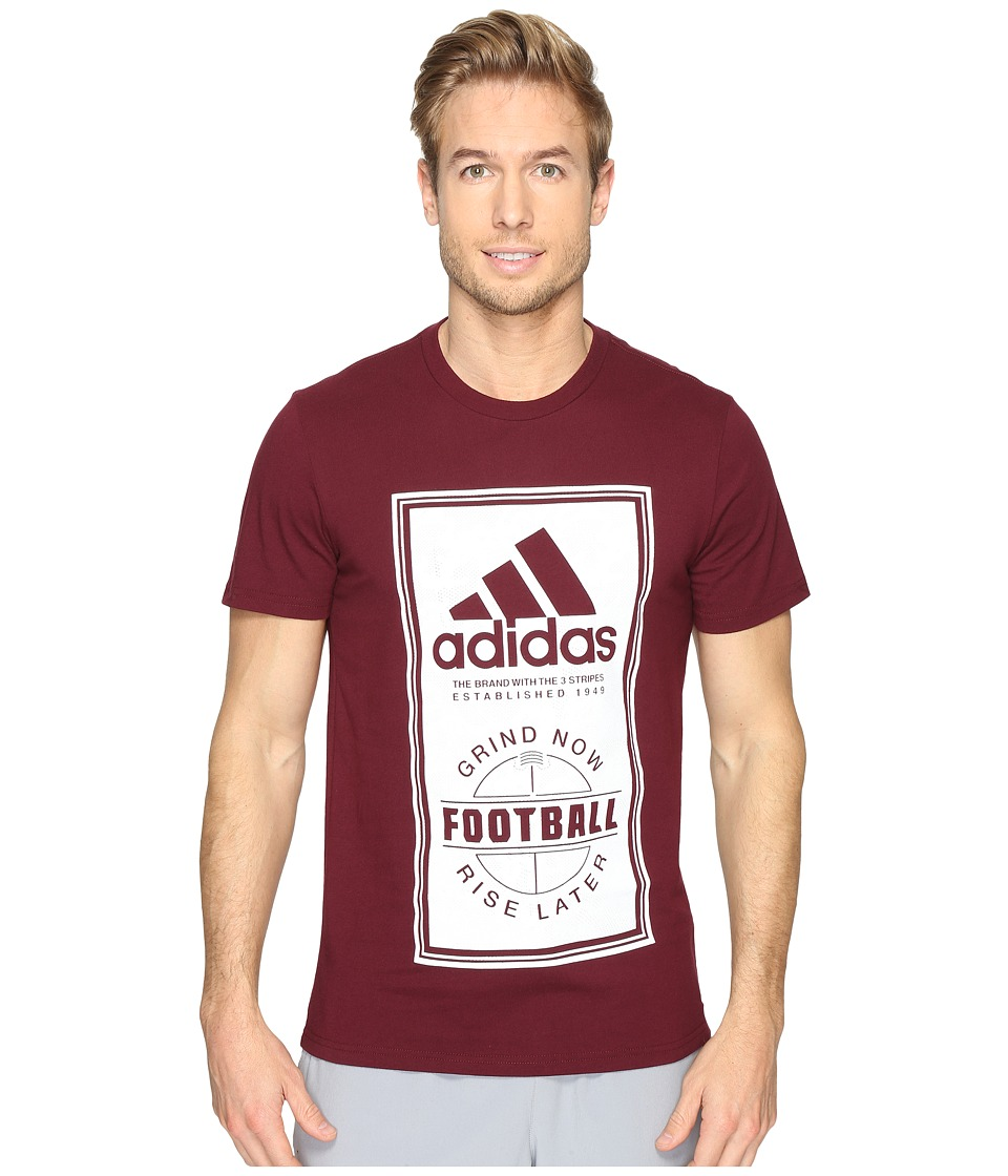 adidas - Sport ID Football Tee (Maroon/White) Men's T Shirt