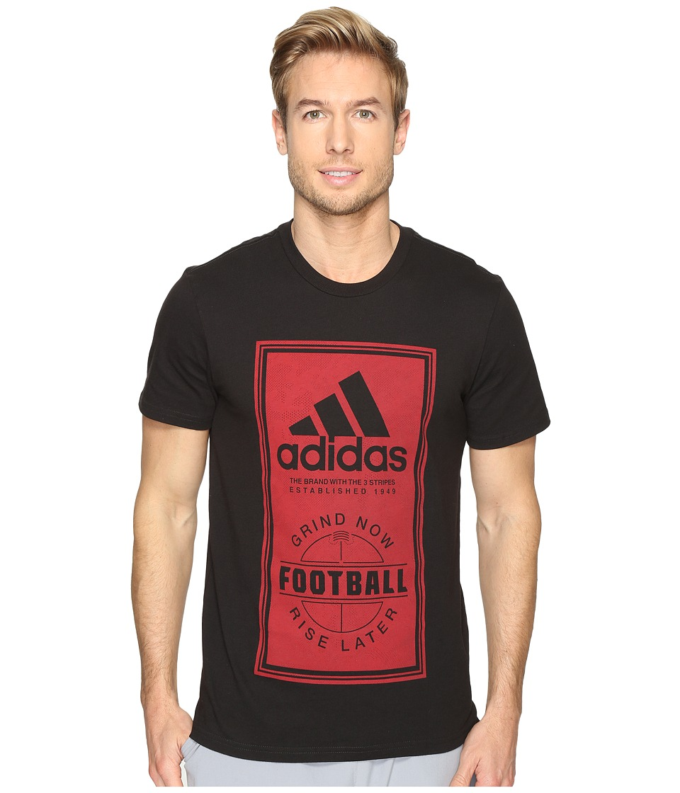 adidas - Sport ID Football Tee (Black/Scarlet Red) Men's T Shirt