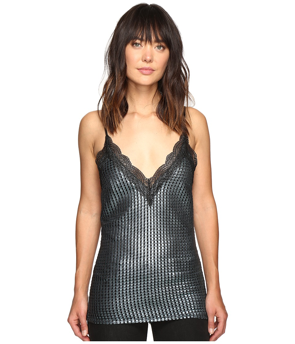 HOUSE OF HOLLAND - Chainmail Metallic Slip Top (Blue) Women's Clothing